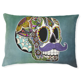 Mustache Sugar Skull Dog Bed