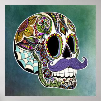 Mustache Sugar Skull Poster - Textured Background