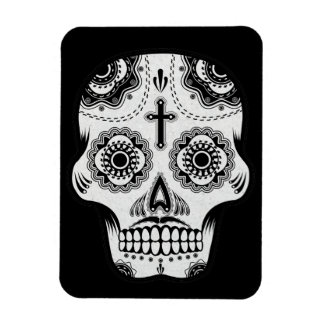 Mustache sugar skull rectangular photo magnet