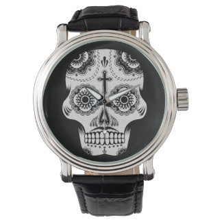 Mustache sugar skull wristwatch