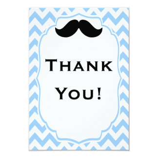 Mustache Thank you note cards
