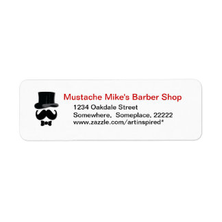 Mustache , top hat and bow tie label