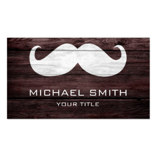 Mustache Vintage Wood 2 Business Cards