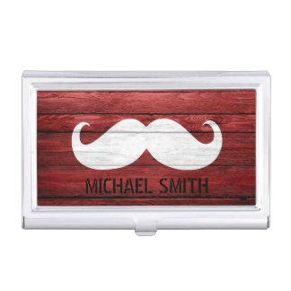 Mustache Vintage Wood Business Card Holder