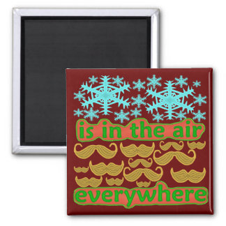 Mustaches Everywhere Square Magnet