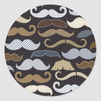 Mustaches & More Mustaches Classic Round Sticker
