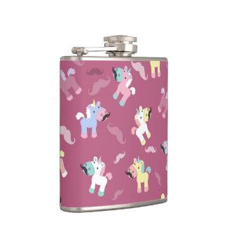 Mustachio Unicornio Hip Flask
