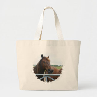 Mustang at Fence Canvas Bag