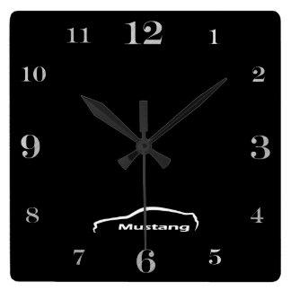 Mustang  brushstroke logo square wall clock