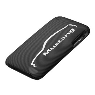 Mustang GT Coupe White Silhouette w/ Faux Carbon iPhone 3 Case-Mate Cases