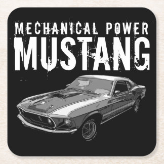 Mustang mechanical power square paper coaster