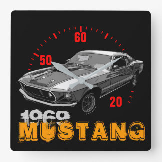 Mustang mechanical power square wall clock