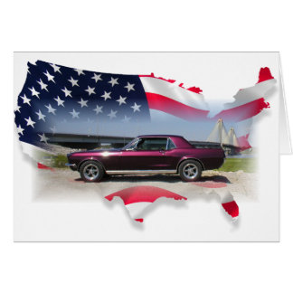 Mustang Over American Flag.png Card