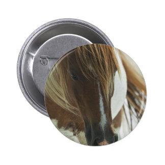 Mustang Wild Horse Round Magnet Pinback Button