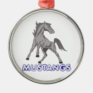 Mustangs Mascot Metal Ornament