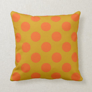Mustard and Orange Polka Dots Throw Pillow