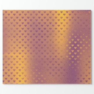 Mustard Bronze Gold Hearts Metallic Confetti Wrapping Paper