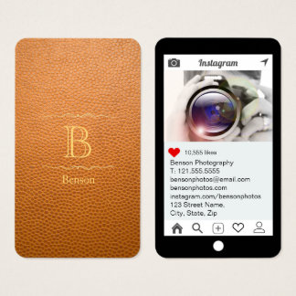 Mustard Brown Mock Leather Instagram Style Business Card