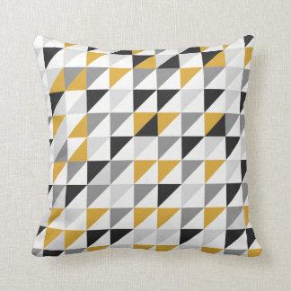 Mustard, Gray, Black Throw Pillow