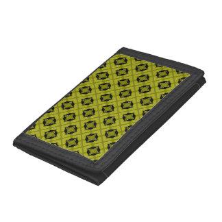 Mustard Green And Black Geometric Pattern Tri-fold Wallets