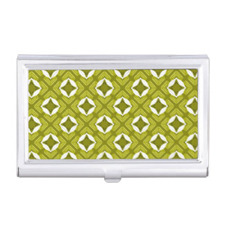 Mustard Green And White Geometric Pattern Business Card Holder