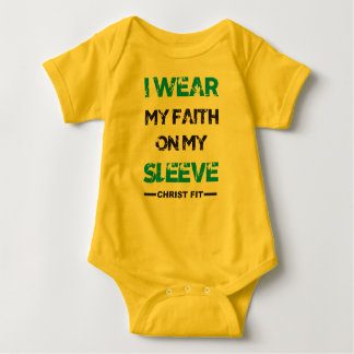 mustard, I wear my faith baby jersey suit Baby Bodysuit