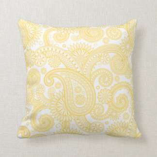 Mustard Paisley Floral Swirl Cushion