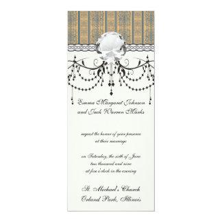 mustard teal vintage striped damask pattern card