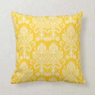 Mustard Victorian Damask Throw Cushion