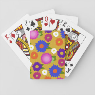 Mustard Yellow Flowers Floral Pattern Feminine Playing Cards