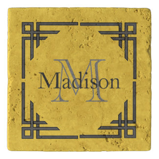 Mustard Yellow Gray Geometric Border Monogram Name Trivet