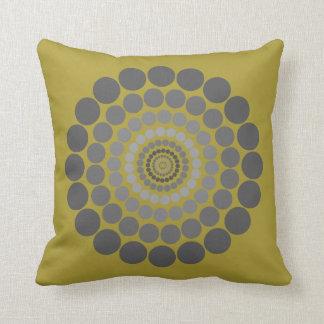 Mustard yellow grey Circle pattern pillow