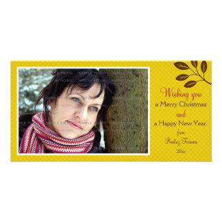 Mustard Yellow Lattice Leaves Branch Christmas Custom Photo Card
