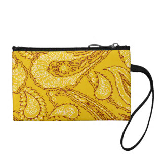 Mustard Yellow Paisley Print Summer Fun Girly Coin Purse
