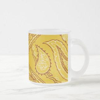 Mustard Yellow Paisley Print Summer Fun Girly Mugs