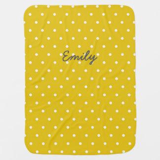 Mustard Yellow Personalized Polka Dot Baby Blanket