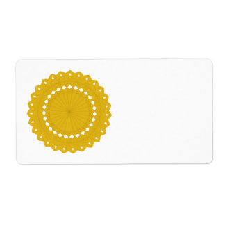 Mustard Yellow Round Graphic. Shipping Label