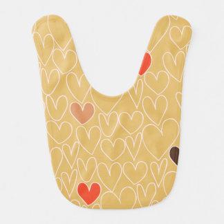 Mustard Yellow Scribble Heart Pattern Bib