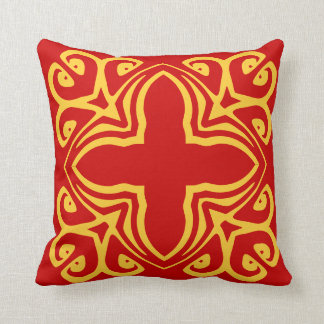 mustard yellow spanish tile on red pillow throw cushions