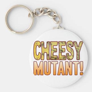 Mutant Blue Cheesy Basic Round Button Key Ring