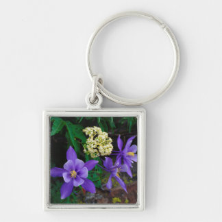 Mutant Columbine Wildflowers Silver-Colored Square Key Ring