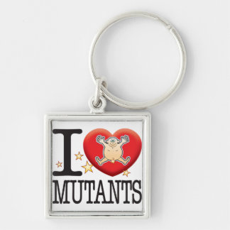Mutants Love Man Silver-Colored Square Key Ring