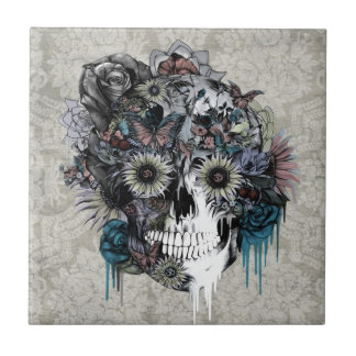 Mute, sunflower skull damask ceramic tile
