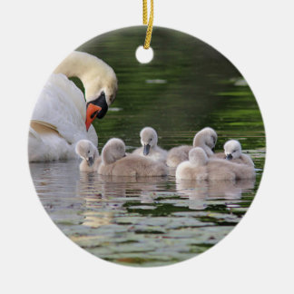 Mute swan and cygnets round ceramic decoration