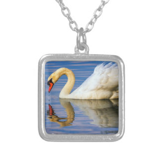 Mute swan, cygnus olor silver plated necklace
