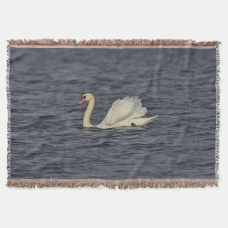 Mute Swan Swimming Throw Blanket