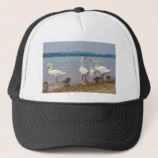 Mute swans and ducks trucker hat