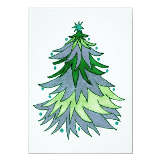 Muted Blue and Greens Christmas Tree 13 Cm X 18 Cm Invitation Card