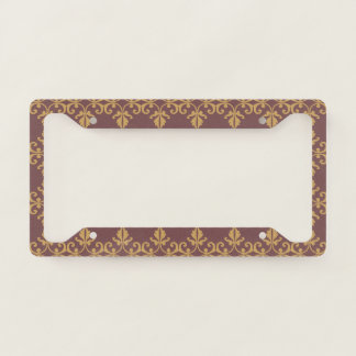 Muted Brown Floral Licence Plate Frame