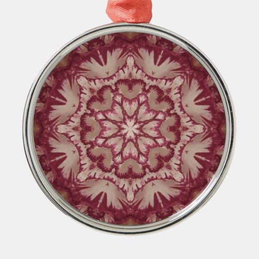 Muted Burgundy and Ivory Victorian Floral Christmas Ornaments